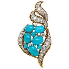 Turquoise Diamond Brooch