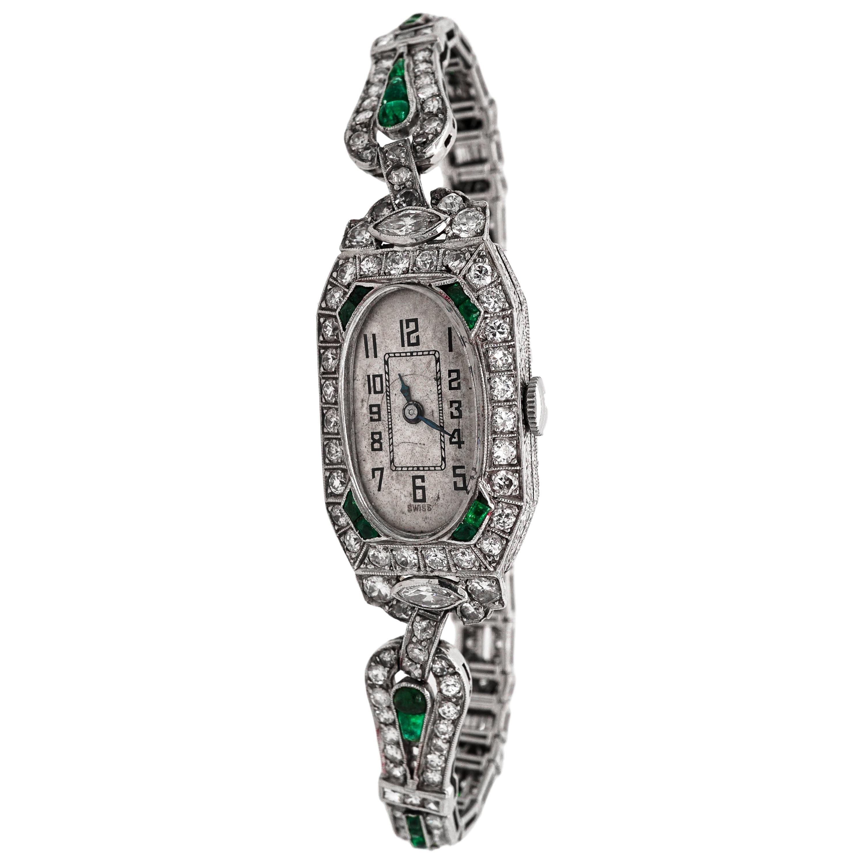 Platinum, Diamond and Emerald Wristwatch