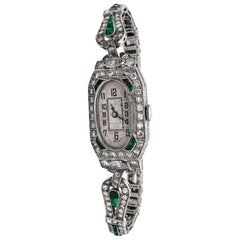 Platinum, Diamond and Emerald Wristwatch