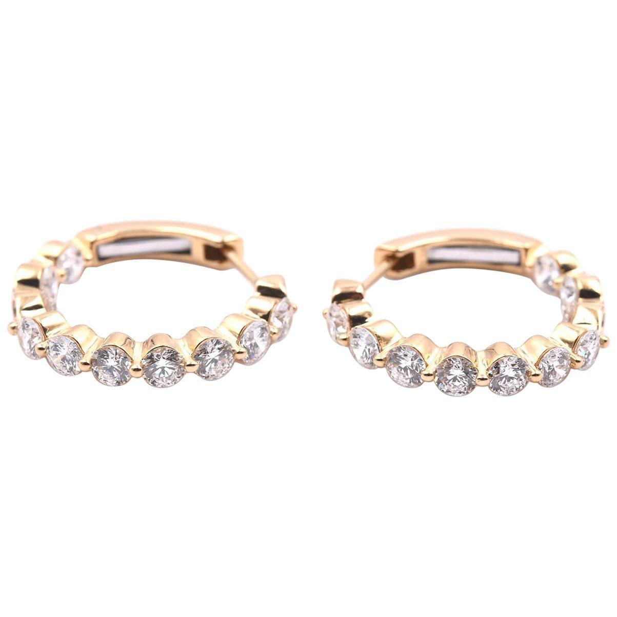 18 Karat Yellow Gold Diamond Inside-Out Hoop Earrings