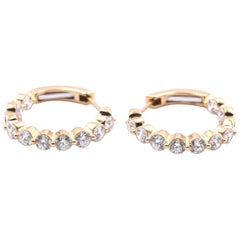 18 Karat Yellow Gold Diamond Inside-Out Hoop Earrings