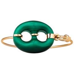 Gucci Malachite Gold Vintage Bangle Bracelet