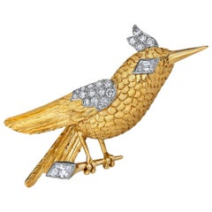 Cartier Paris Vintage Diamond Platinum Gold Hummingbird Brooch