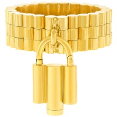Art Deco French Gold Bracelet with Lock