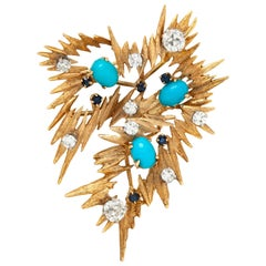Pointy Diamond Turquoise Sapphire Brooch