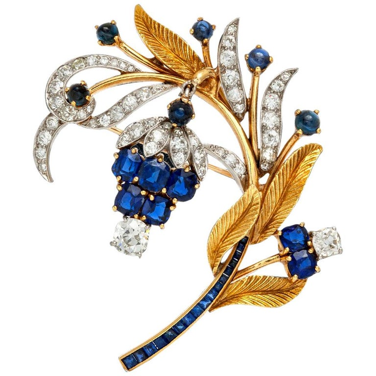 Sapphire Diamond Brooch For Sale