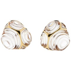 Modern 18 Karat Yellow Gold Rock Crystal Earrings by Angela Cummings