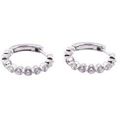 14 Karat White Gold Diamond Inside-Out Hoop Earrings