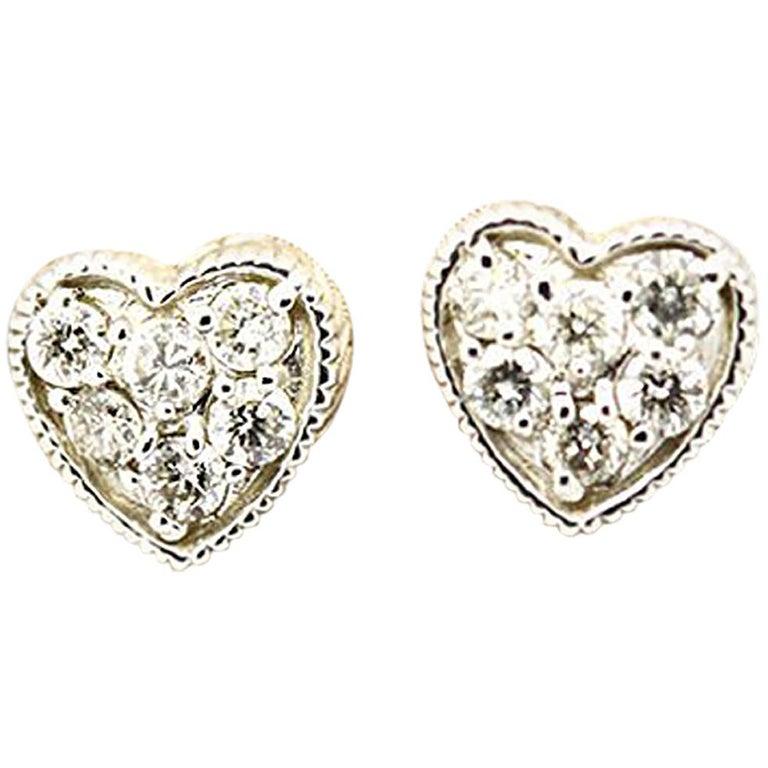 07dff7b55ee Morris & David 14 Karat White Gold 0.29 Carat Diamond Heart Stud Earrings