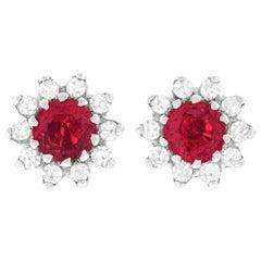 Diamond and Ruby Set Platinum Stud Earrings