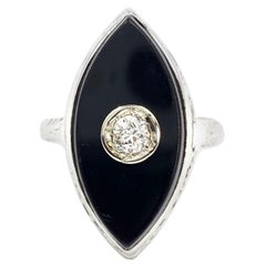Onyx and Diamond Carved White Gold Ring
