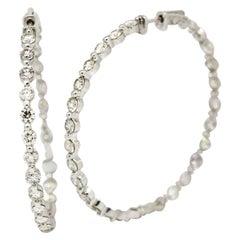 Morris & David 14 Karat White Gold 8.32 Carat Diamond Large Hoop Earrings