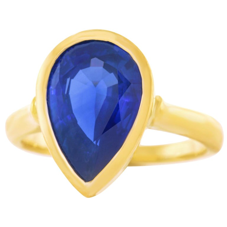 5.54 Carat Pear Shaped Sapphire Ring For Sale