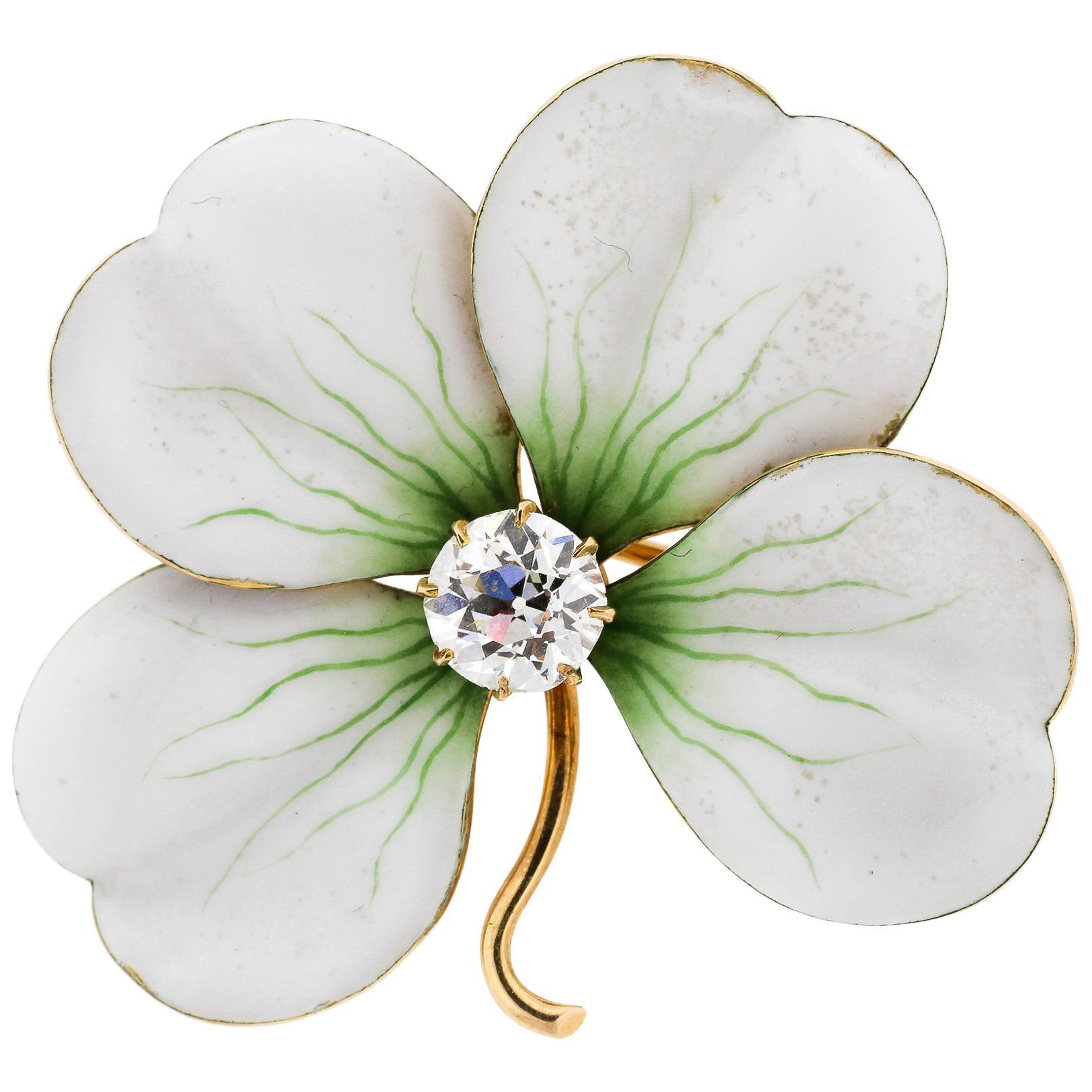Antique White Enamel 18 Karat Gold Old European Cut Diamond Flower Pin Pendant