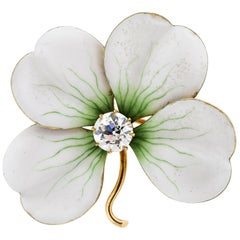 Antique White Enamel 18 Karat Gold Old European Cut Diamond Flower Pin Pendant