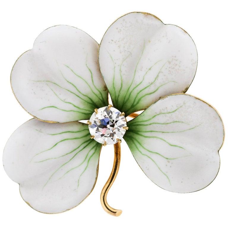 Antique White Enamel 18 Karat Gold Old European Cut Diamond Flower Pin Pendant For Sale