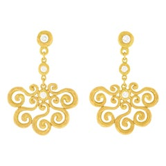 Pamela Froman Diamond Chandelier Gold Earrings