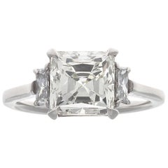 Jack Weir & Sons GIA 3.00 Carat Asscher Cut Diamond Platinum Engagement Ring