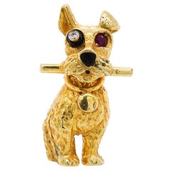 Cartier Paris, 18 Karat Gold, Ruby and Diamond Dog Clip