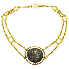 Yellow Gold Ancient Greek Coin Necklace, Helen Woodhull 1979