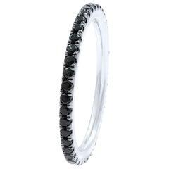 18 Karat White Gold Scoop Pave Round Black Diamond Eternity Band 0.54 Carat
