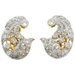 Diamond Gold Platinum Earrings Clip-on, 1930s