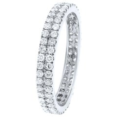 18K White Gold Double Row Scoop Micro Pave Round Diamond Eternity Band  0.61cts