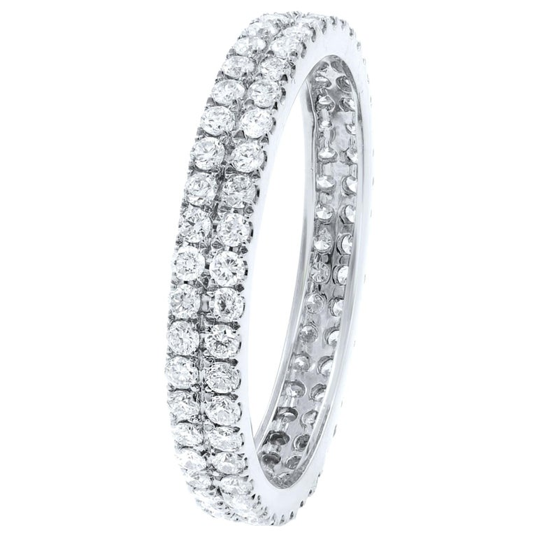 18K White Gold Double Row Scoop Micro Pave Round Diamond Eternity Band  0.61cts For Sale