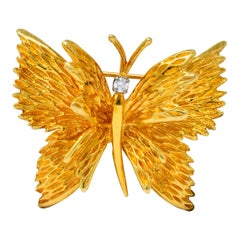 Retro Tiffany & Co. Diamond 18 Karat Gold Butterfly Brooch