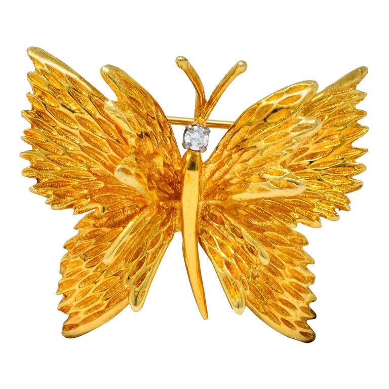Retro Tiffany & Co. Diamond 18 Karat Gold Butterfly Brooch For Sale