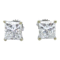 4.03 Carat Princess Cut Diamond Studs GIA Certified 14 Karat White Gold Earrings