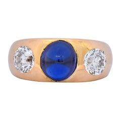 Bailey Banks and Biddle 3.40 Carat No Heat Sapphire Diamond 18 Karat Ring GIA