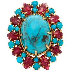 Turquoise Ruby Brooch