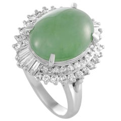 Round and Tapered Diamonds and Jade Oval Platinum Ring