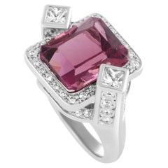 Round and Square Diamonds and Rectangle Tourmaline Platinum Ring