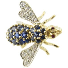 Herbert Rosenthal 18 Karat Yellow Gold Sapphire and Diamond Bee Brooch Pin