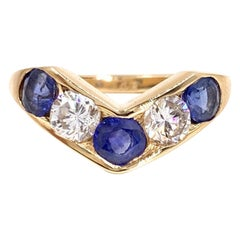 Blue Sapphire and Diamond Curved Gold Ring
