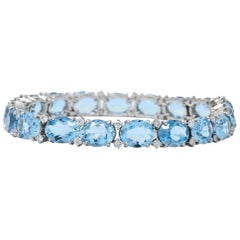 Tiffany & Co. 32.42 Carat Aquamarine Diamond Platinum Bracelet