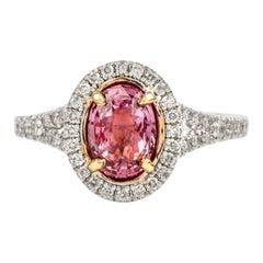 Padaradscha Sapphire Diamond Halo 18 Karat White Gold Ring