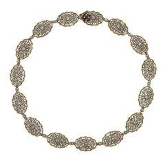 Mario Buccellati Diamond Gold Lace Necklace