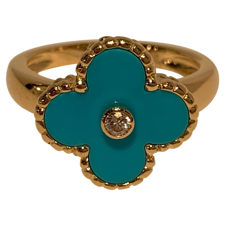 New Van Cleef & Arpels Vintage Alhambra Collection Diamond Turquoise Flower Ring For Sale
