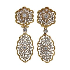 Mario Buccellati Diamond Gold Lace Drop Earrings