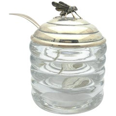 Art Deco R Blackinton Honey Jar with Bee Sterling Silver and Glass