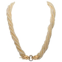14 Karat Yellow Gold Twin Lion Head Multi-Strand Akoya Pearl Necklace