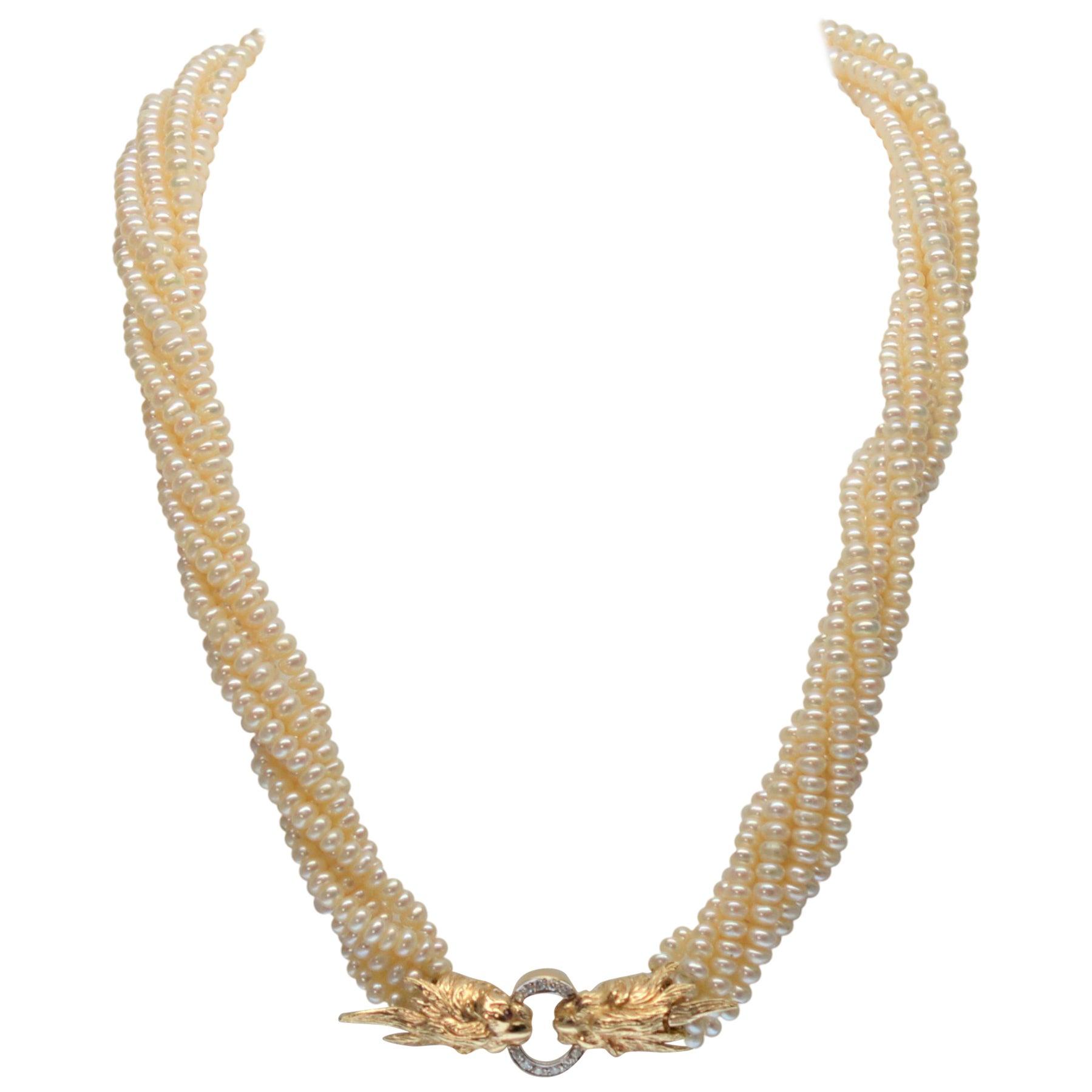 14 Karat Yellow Gold Twin Lion Head Multi-Strand Akoya Pearl Necklace