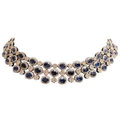 70.07 Carat Oval Sapphire and Diamond Necklace