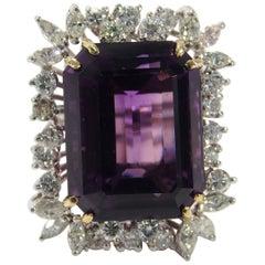 14 Karat Large Ballerina Amethyst Diamond Ring White Gold