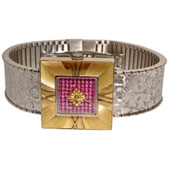 Buccellati Ladies Watch Milano Dal 1919 Agalma Damasco Agalmachron Ruby 18K Gold