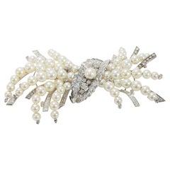 14 Karat Edwardian Diamond Pearl Pin Brooch White Gold 7.33 Carat