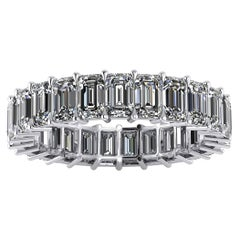 4.00 Carat White Emerald Diamonds Eternity Band Platinum 950